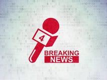 Nachrichtenkonzept: Letzte Nachrichten und Mikrofon auf Digital-Daten tapezieren Hintergrund lizenzfreie abbildung