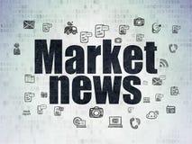 Nachrichtenkonzept: Marktbericht auf Digital-Daten-Papierhintergrund Stockfoto