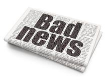 Nachrichtenkonzept: Schlechte Nachrichten auf Zeitungshintergrund lizenzfreie abbildung