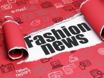 Nachrichtenkonzept: schwarze Text Mode-Nachrichten unter dem Stück des heftigen Papiers Stockfotografie