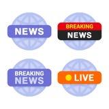 Nachrichtenmedium-Ikonen eingestellt auf weißen Hintergrund Vektor Stockbild