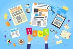 Nachrichtenredakteur Desk Workspace, Konzept-Herstellung Lizenzfreies Stockbild