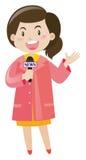 Nachrichtenreporter mit Mikrofon Stockbild