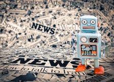 Nachrichtenroboter-Reporterblau Stockbild
