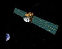 Nachrichtensatellit im Platz lizenzfreie abbildung