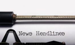 Nachrichtenschlagzeilen Stockbild