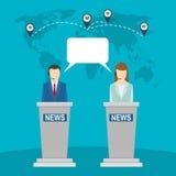 Nachrichtenstudio auf Hintergrund der Weltkarte Zwei Anker Stockfoto