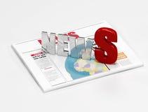 Nachrichtenzeichen auf Zeitung Lizenzfreie Stockfotos