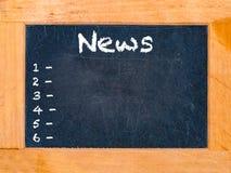 Nachrichtenzeit-Kreidebrett Lizenzfreie Stockbilder