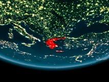 Nacht über Griechenland auf Erde Stockfotos