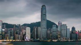 Nacht aan dag timelapse van Hong Kong stock videobeelden