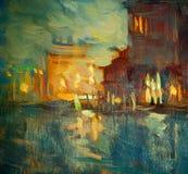 Nacht aan Venetië, die door olie op canvas schilderen Stock Afbeelding