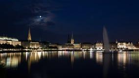 Nacht Alster Royalty-vrije Stock Foto