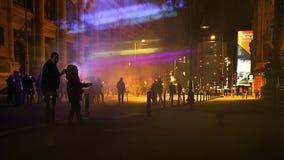 Nacht auf Calea Victoriei von Bukarest Lizenzfreies Stockfoto