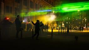 Nacht auf Calea Victoriei von Bukarest Lizenzfreie Stockbilder
