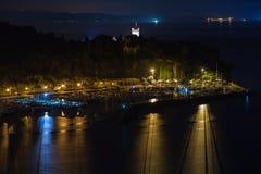 Nacht auf Triest-Bucht Stockfotografie