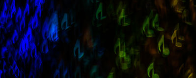Nacht beleuchtet bokeh geformte Noten, defocused bokeh Licht, Querstation Lizenzfreies Stockfoto