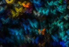 Nacht beleuchtet bokeh Schmetterlingsform, defocused bokeh Lichter, Unschärfe Stockbilder