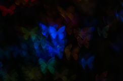 Nacht beleuchtet bokeh Schmetterlingsform, defocused bokeh Lichter, Unschärfe Lizenzfreies Stockbild