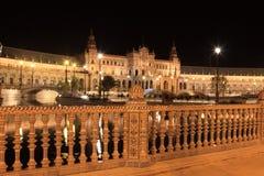 Nacht in beroemde Plaza DE Espana Stock Foto
