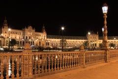 Nacht in beroemde Plaza DE Espana Royalty-vrije Stock Afbeelding