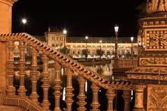 Nacht in beroemde Plaza DE Espana Royalty-vrije Stock Afbeeldingen