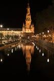 Nacht in beroemde Plaza DE Espana Stock Foto's