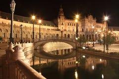 Nacht in beroemde Plaza DE Espana Stock Fotografie