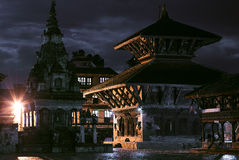 Nacht in Bhaktapur Stock Afbeelding