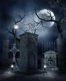 Nacht bij de begraafplaats stock illustratie