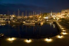 Nacht bij de haven stock fotografie