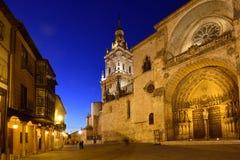 Nacht bij de Kathedraal, Gr Burgo DE Osma, stock afbeeldingen