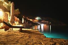 Nacht bij het strand Stock Afbeelding