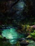 Nacht bij magische rivier-2 stock foto's