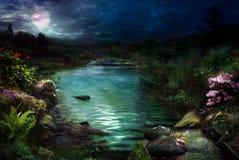 Nacht bij magische rivier Royalty-vrije Stock Foto