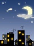 Nacht bij stad Royalty-vrije Illustratie