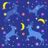 Nacht blauwe achtergrond met vormendeers, sterren en maan Stock Foto's