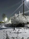 Nacht-Blizzard in einem ländlichen Gebiet in den Süd-Urals Lizenzfreies Stockbild