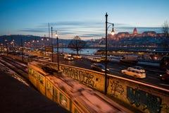 Nacht in Boedapest Stock Afbeeldingen