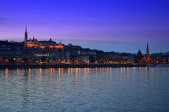 Nacht Boedapest Hongarije royalty-vrije stock afbeelding