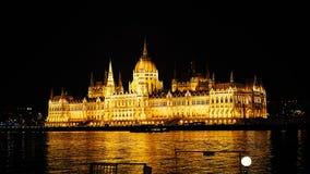 Nacht Boedapest met de Donau en het Parlementsgebouw, Hongarije Luchtmening van Boedapest Hongarije Royalty-vrije Stock Afbeeldingen