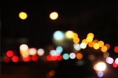 Nacht bokeh Stock Afbeeldingen