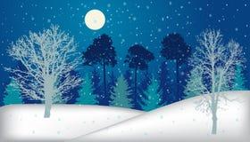 Nacht bosbomen in de winter met sneeuwval en volle maan vector illustratie
