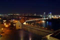 Nacht Bratislava Royalty-vrije Stock Afbeeldingen