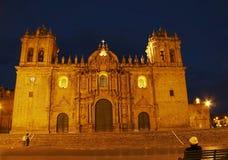 Nacht caphedral in Cuzco, Peru Royalty-vrije Stock Foto