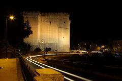 Nacht Castel von Tarascon Lizenzfreie Stockbilder