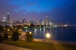 Nacht Chicago Stock Afbeelding