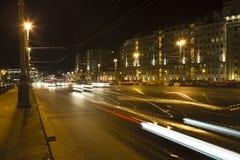 Nacht: De stad van Moskou Stock Afbeelding