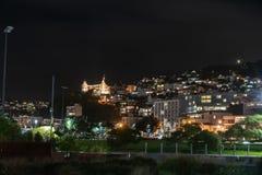 Nacht in de stad, Wellington, Nieuw Zeeland royalty-vrije stock fotografie