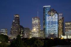 Nacht de van de binnenstad van Houston Stock Afbeelding